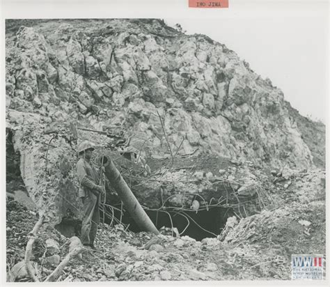 Japanese Gift by Us Soldier Guards Destroyed Japanese Artillery Piece On