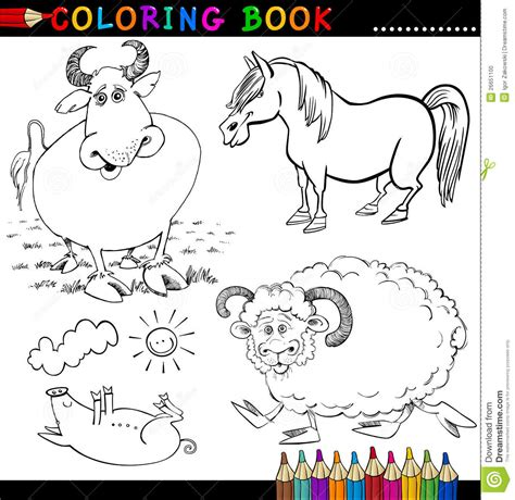 animals a hilarious coloring book for of all ages books farm animals for coloring book or page stock vector