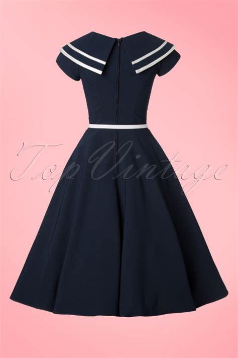sailor swing dress 50s captain flare dress in navy