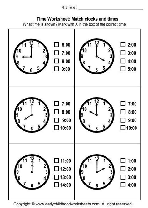printable clock preschool matching clocks and time worksheets worksheet 1