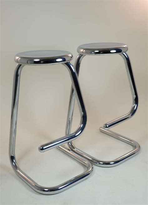 pair of brushed steel bar stools at 1stdibs pair of polished steel bar stools at 1stdibs
