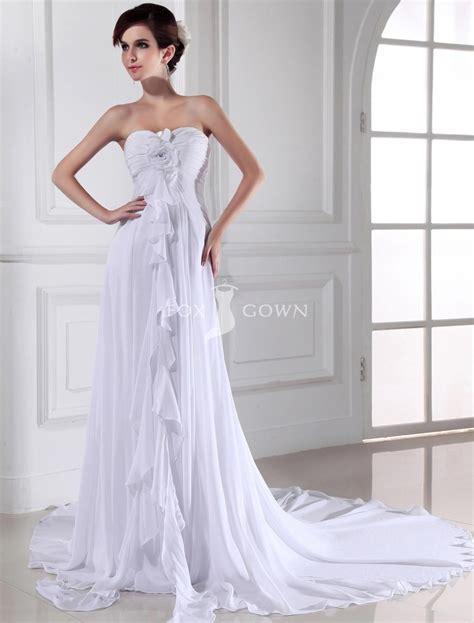 sweetheart strapless empire sheath chiffon wedding dress