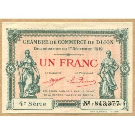 chambre de commerce dijon dijon 21 1 franc 1 12 1919 s 233 rie 4 montay numismatique