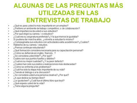 preguntas en una entrevista de trabajo para el entrevistador tipos de entrevista de selecci 211 n ppt descargar