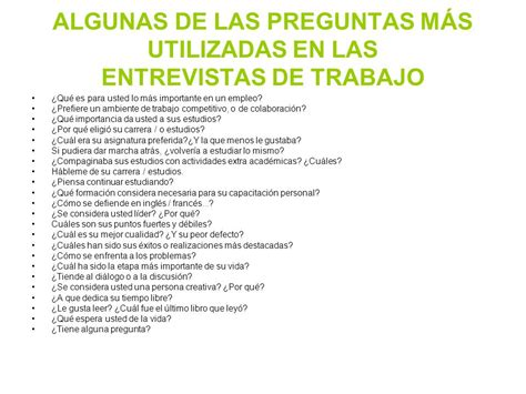 preguntas importantes entrevista tipos de entrevista de selecci 211 n ppt descargar