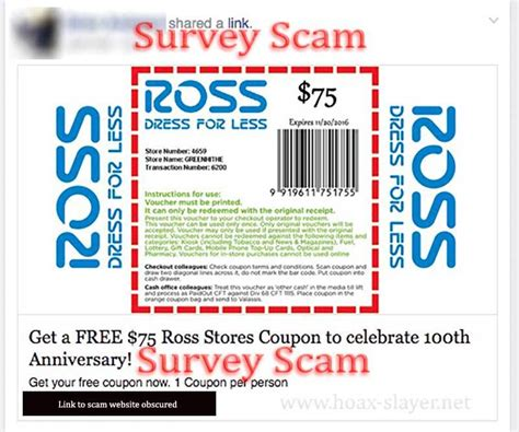 legit printable grocery coupons quot free 75 ross stores coupon quot facebook survey scam hoax