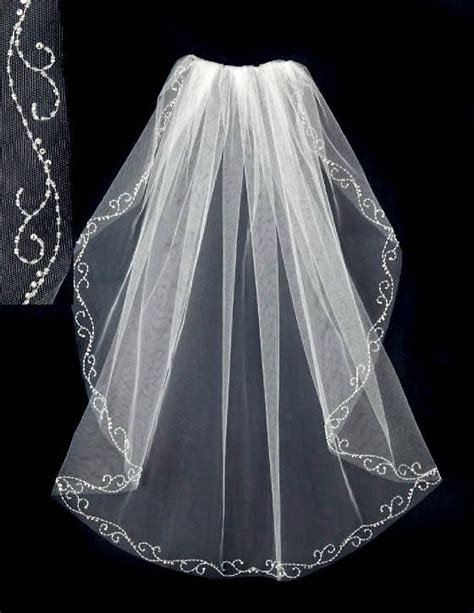 beaded wedding veil with seed bead swirl trim