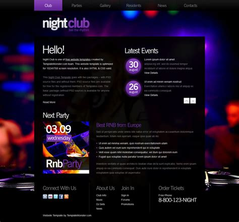 free nightclub templates free website template for club templates