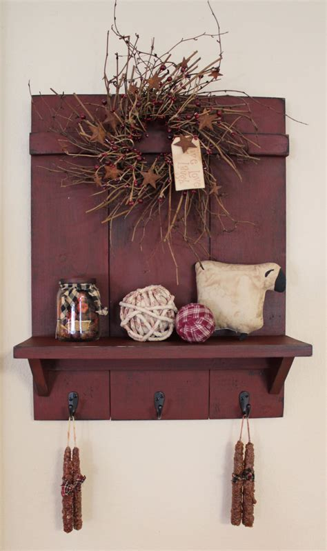 Handmade Primitives - handmade primitive country distressed wall shelf with 3 rubbed