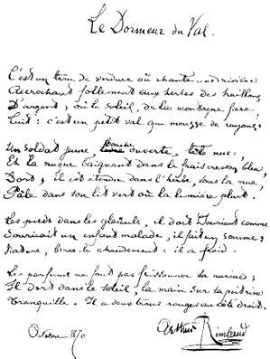 Rimbaud Le Dormeur Du Val Texte by Canzoni Contro La Le Dormeur Du Val