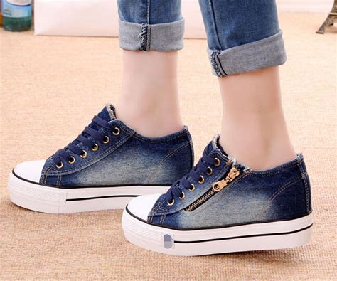 toe lace up sneakers platform wedge heels