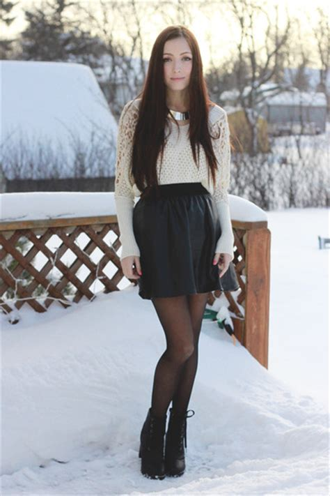 gorgeous leather skirts with sweater styling for
