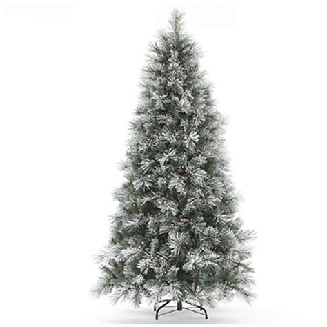 view 7 5 pre lit artificial christmas tree flocked long
