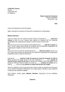 lettre de demande de versement de l indemnit 233