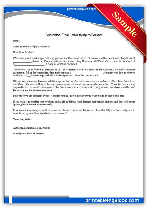 Guarantee Letter To Employee Free Printable Guarantor Letter Trying To Collect Form Generic