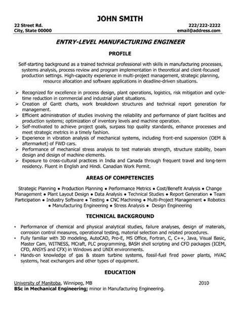 mechanical engineer resume exles entry level manufacturing engineer resume template
