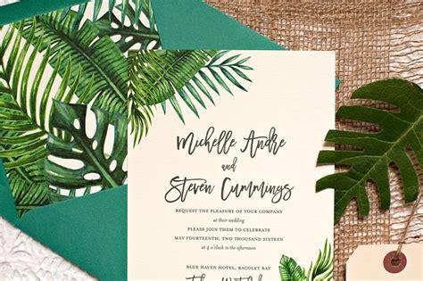 Tropical Wedding Invitations by Tropical Leaf Destination Wedding Invitations
