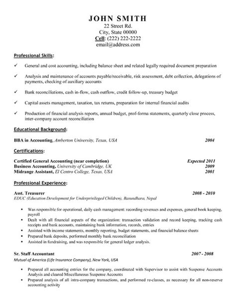 Resume Sle For Experienced Accountants Sle Resume For Professional Accountant Advert Template