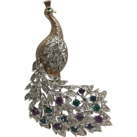 vintage panetta rhinestones peacock pin brooch from