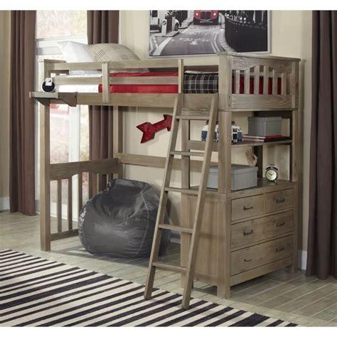 Ne Kids Highlands Twin Loft Bed With Hanging Shelf In Hanging Bunk Beds