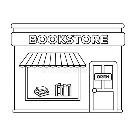 Uws Library Unit Outlines bookstore icon in outline style isolated on white background library and bookstore symbol stock