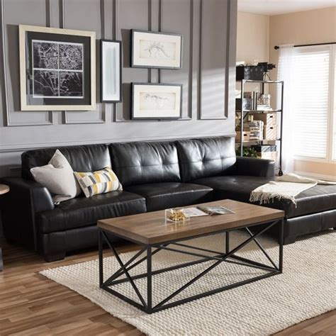 Dobson Black Leather Modern Sectional Sofa Dc Dobson Sectional Sofa