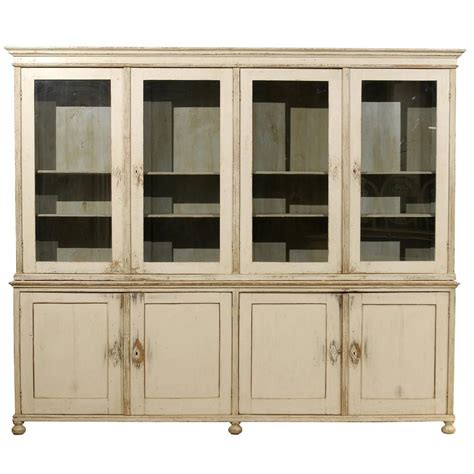Large Cabinet Doors Large Vintage Painted Wood Glass Door Cabinet At 1stdibs
