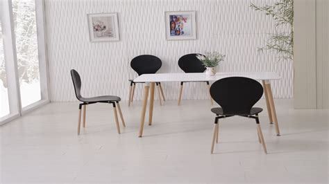Black And White Dining Table And Chairs White Dining Table And 6 Black Chairs Homegenies