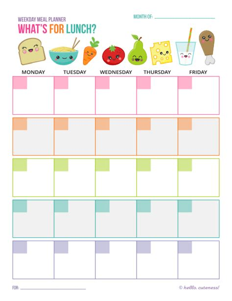 printable lunch meal planner 5 best images of cute planner printables free printable