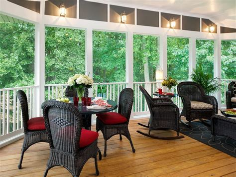 Decorations Fabulous Den Interiors Decorating Screened Screened Porch Furniture Ideas