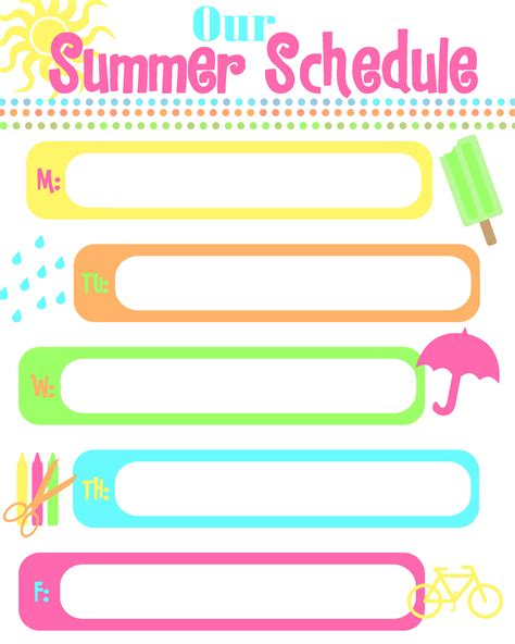 daily summer schedule printable summer schedule how to keep kids busy free printable