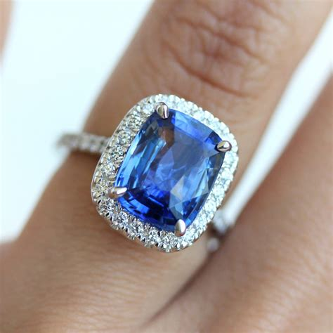 Sapphire Rings by Cushion Halo Blue Sapphire Engagement Ring Wholesale Price