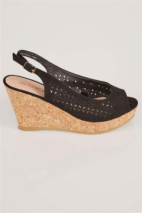 Best Seller Wedges T 1 3 8 Hitam Berkualitas Bagus black laser cut slingback wedge sandal in eee fit