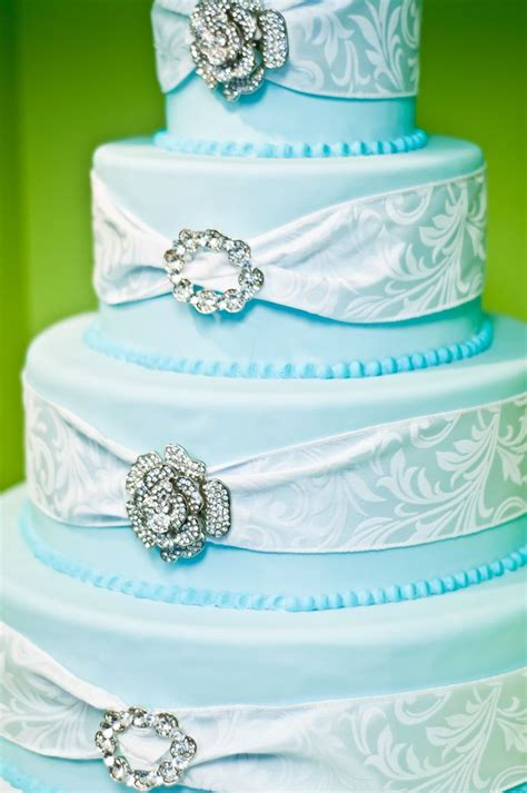 image light pink and blue wedding cakes