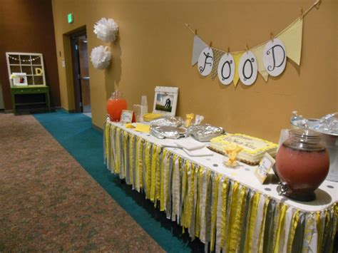 yellow and gray baby shower centerpieces craft a spell baby shower the decorations i really like these want to leave them up but ive been