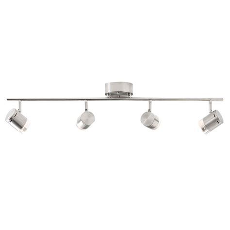 Track Led Lighting Fixtures Shop Style Selections Leyden 4 Light 29 76 In Brushed Nickel Dimmable Led Track Bar Light Kit