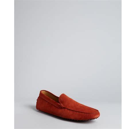 mens orange suede loafers tod s burnt orange suede pebbled moccasin loafers in