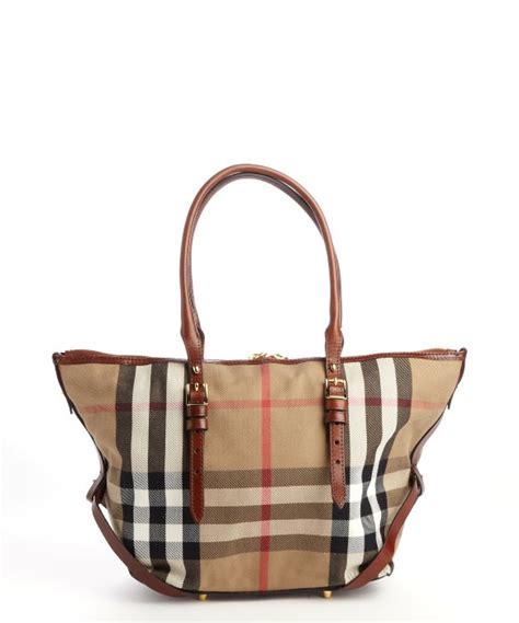 burberry brown signature check canvas top handle tote bag in brown lyst