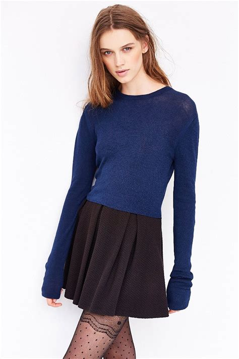 Crop Hoodie Jumper Jaket Nevy kimchi blue fitted cropped sweater in blue lyst