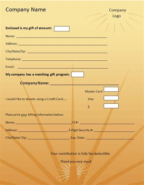 Donation Sheet Template by Donation Form Template Graphics And Templates