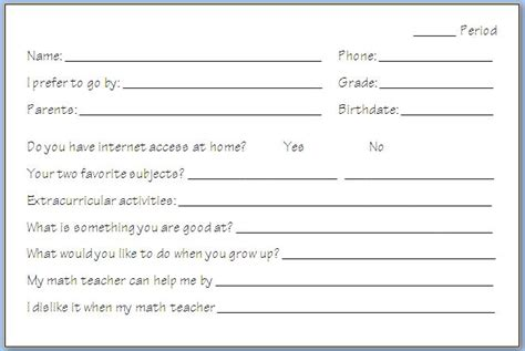 free templates for info cards for students day of school take it to the limit