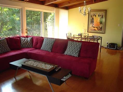 red couches decorating ideas red couch with yellow walls with a cedar ceiling for
