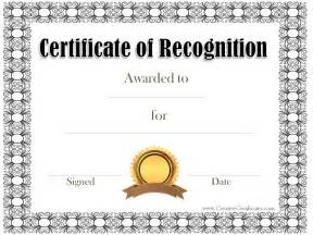 Templates For Certificates Of Recognition by Free Certificate Of Recognition Template Customize