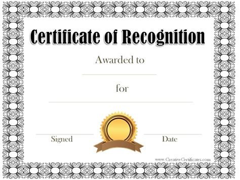 recognition certificates templates free certificate of recognition template customize