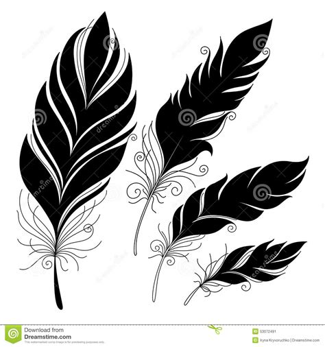 feather tattoo vector vector peerless decorative feather stock vector image