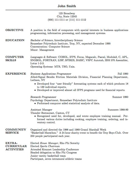 Resume Template For Graduate School by Templates 187 Curricula Vitae R 233 Sum 233 S