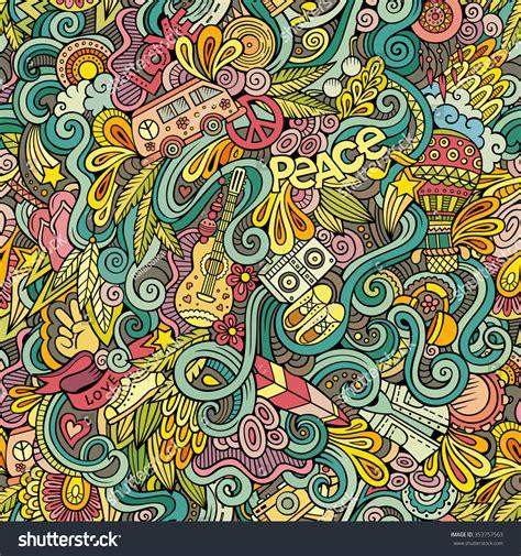 hippie vector pattern cartoon handdrawn doodles on subject hippie stock vector