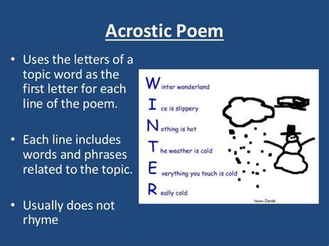 acrostic poem exles poem exles