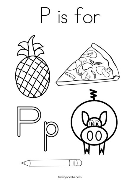 P Coloring Pages by P Is For Coloring Page Twisty Noodle