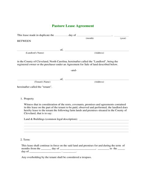 Agreement Letter For Renting Land Farmland Rental And Lease Form Free